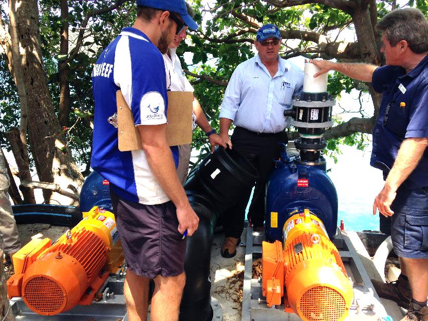 self priming pumping seawater at daydream island