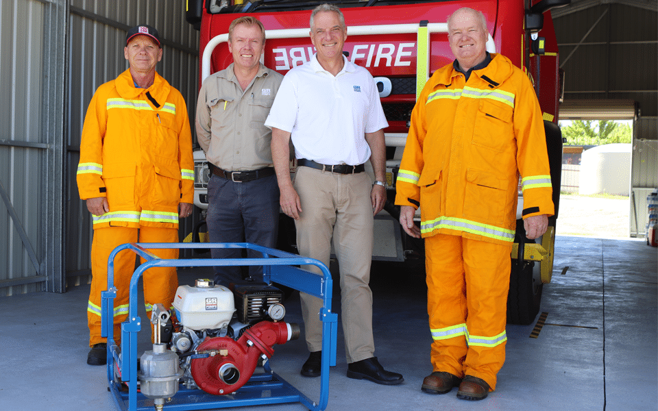 Representatives from Hydro Innovations and Gorman-Rupp with the fire crew from Corryong CFA Group