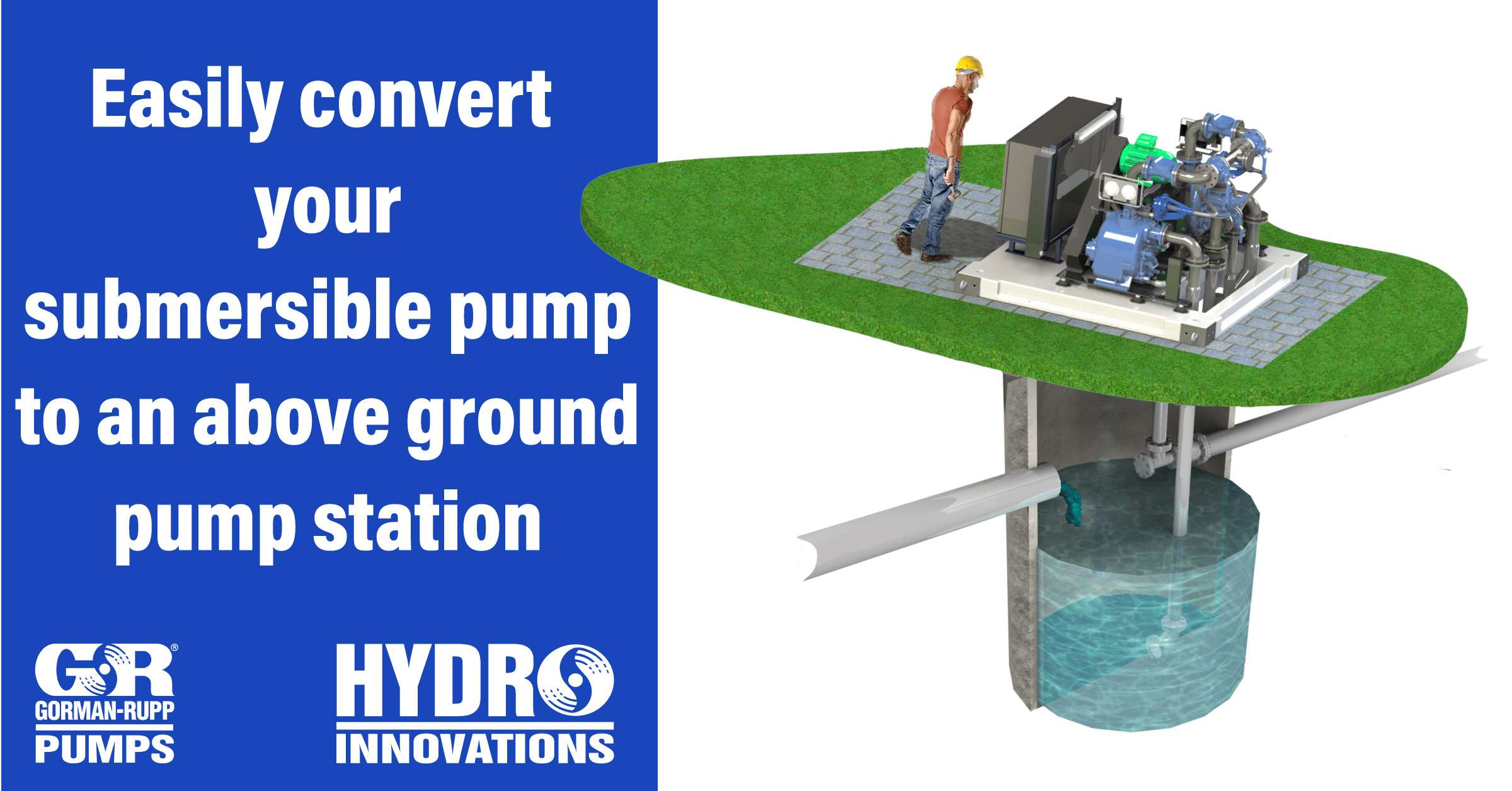 easily convert your submersible pumps to an above ground pump station
