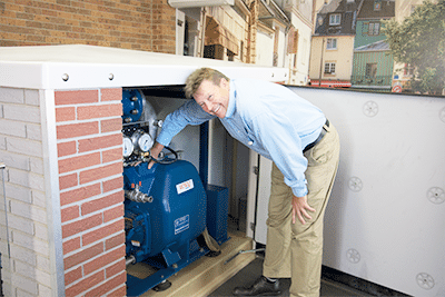 Garry training adjustment to Gorman-Rupp pump on site