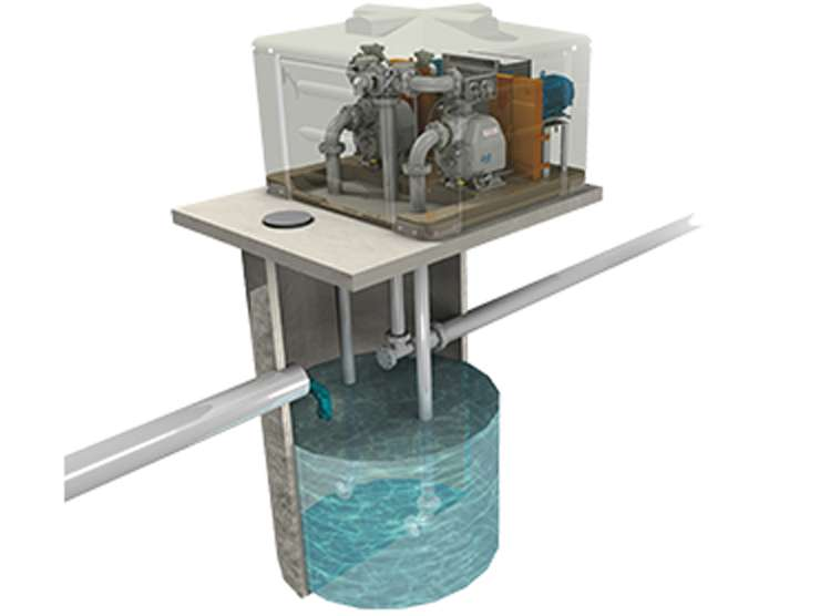 Gorman-Rupp above ground self-priming pump station