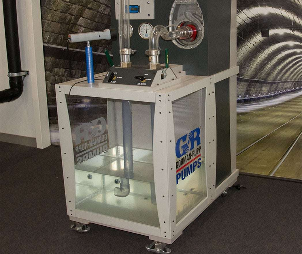 glass faced sewage pump for training